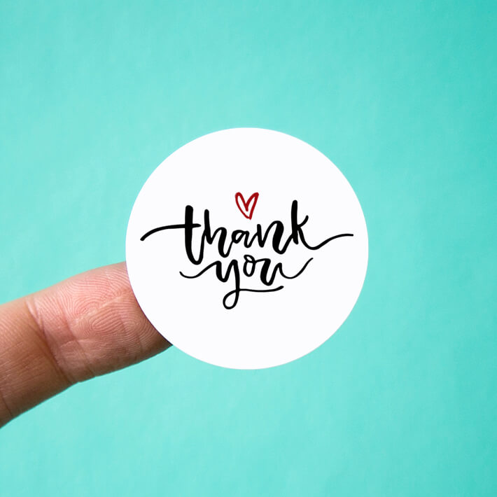 Circle Heart Thank You Stickers