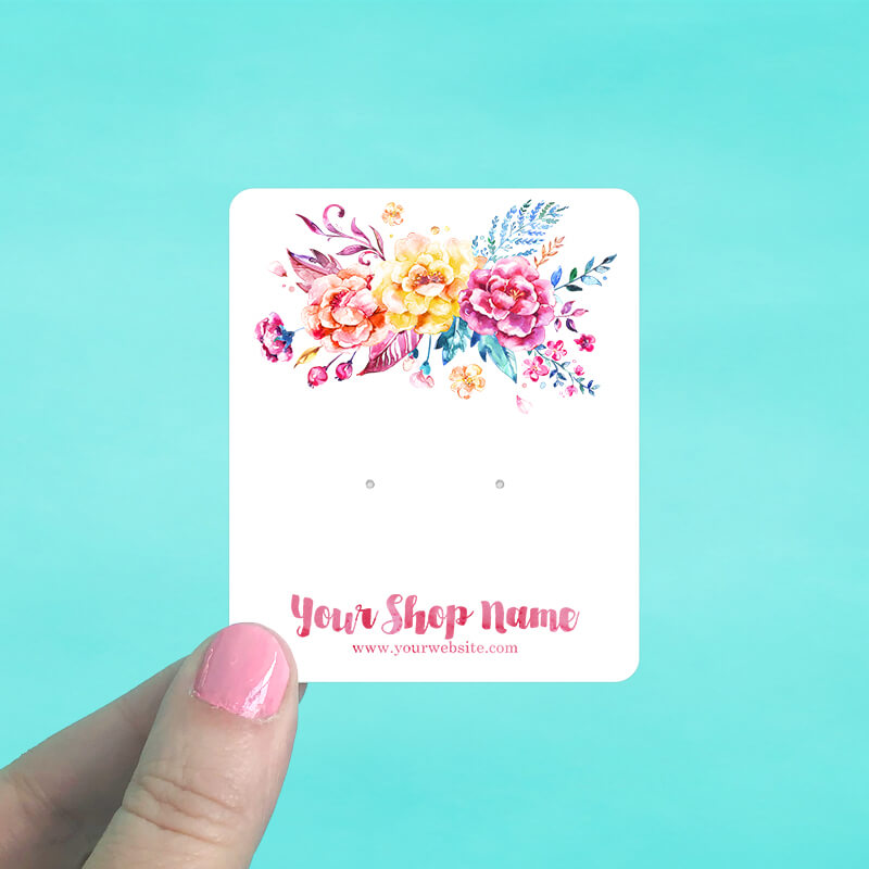 Bright Floral Jewelry Display Cards