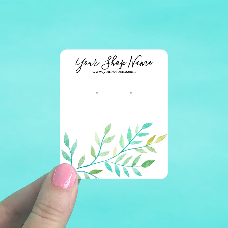 Watercolor Leaves Jewelry Display Cards