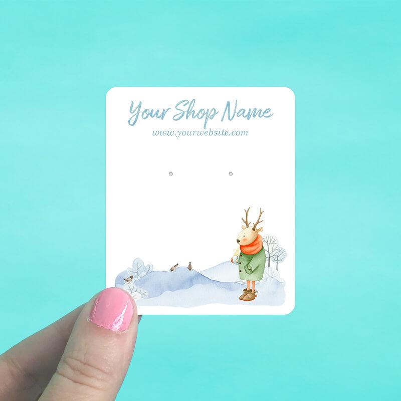 Deer Winter Scene Jewelry Display Cards