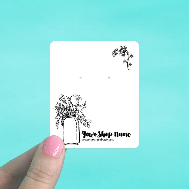 Floral Vase Jewelry Display Cards