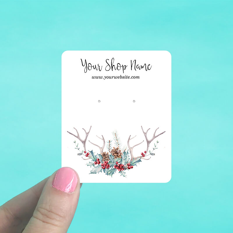 Holly Antlers Jewelry Display Cards