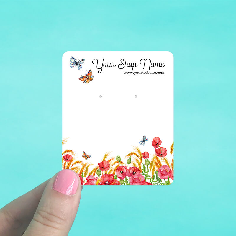 Poppies & Butterflies Jewelry Display Cards