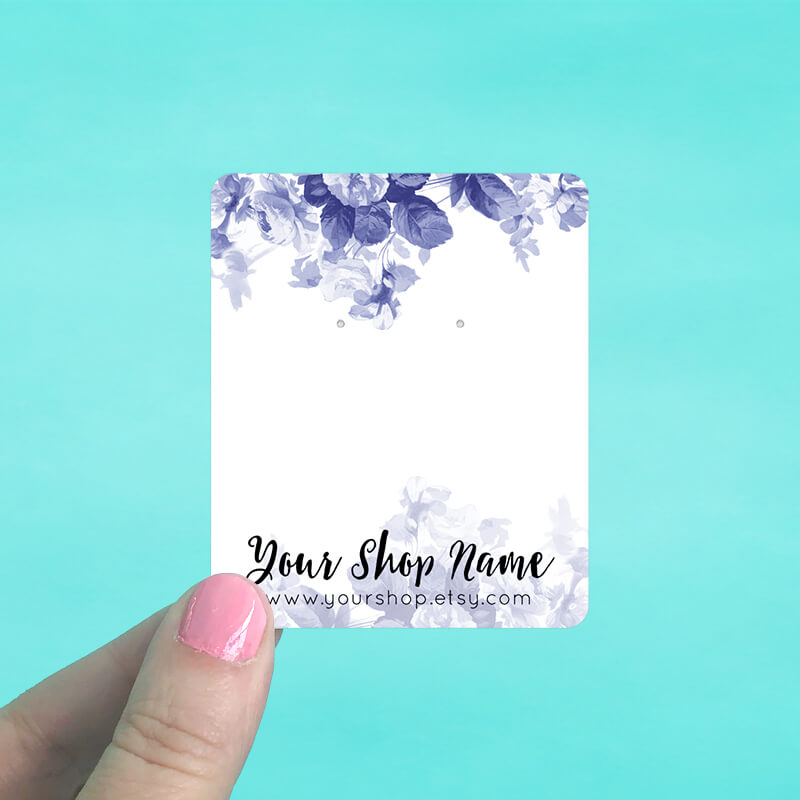 Royal Blue Floral Jewelry Display Cards