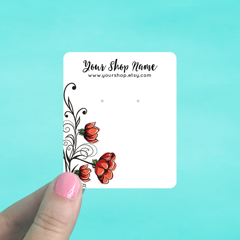 Red Blooms Jewelry Display Cards