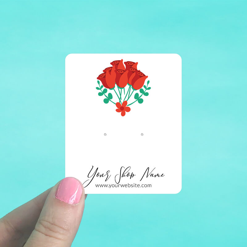 Red Rose Bouquet Jewelry Display Cards