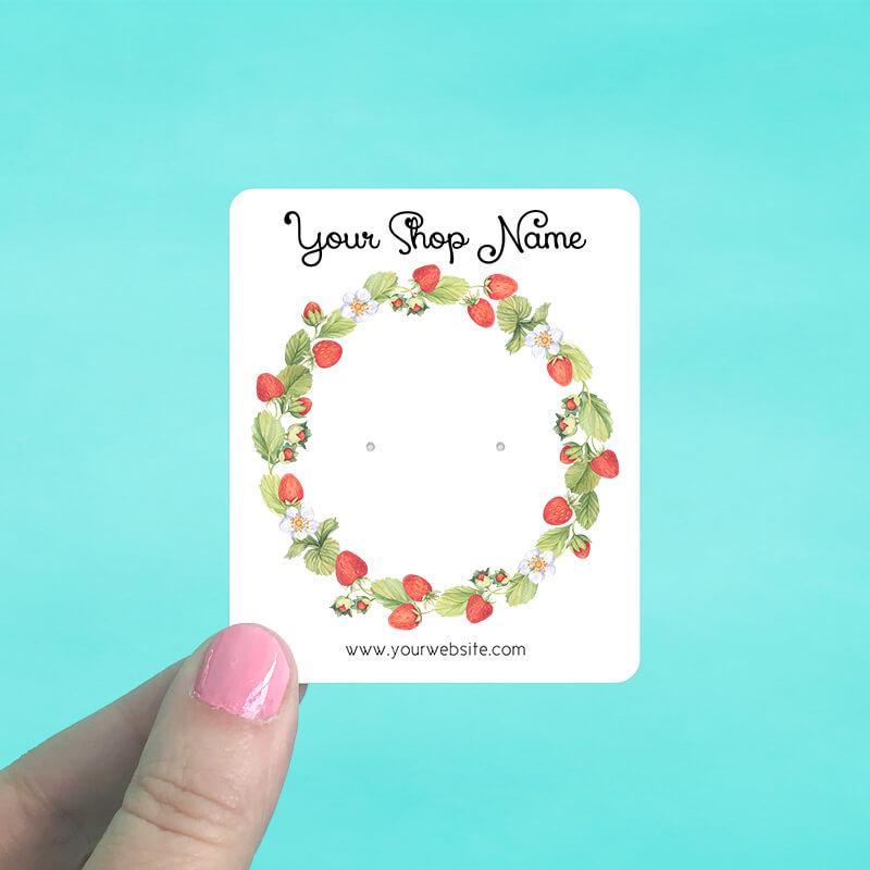 Strawberry Wreath Jewelry Display Cards