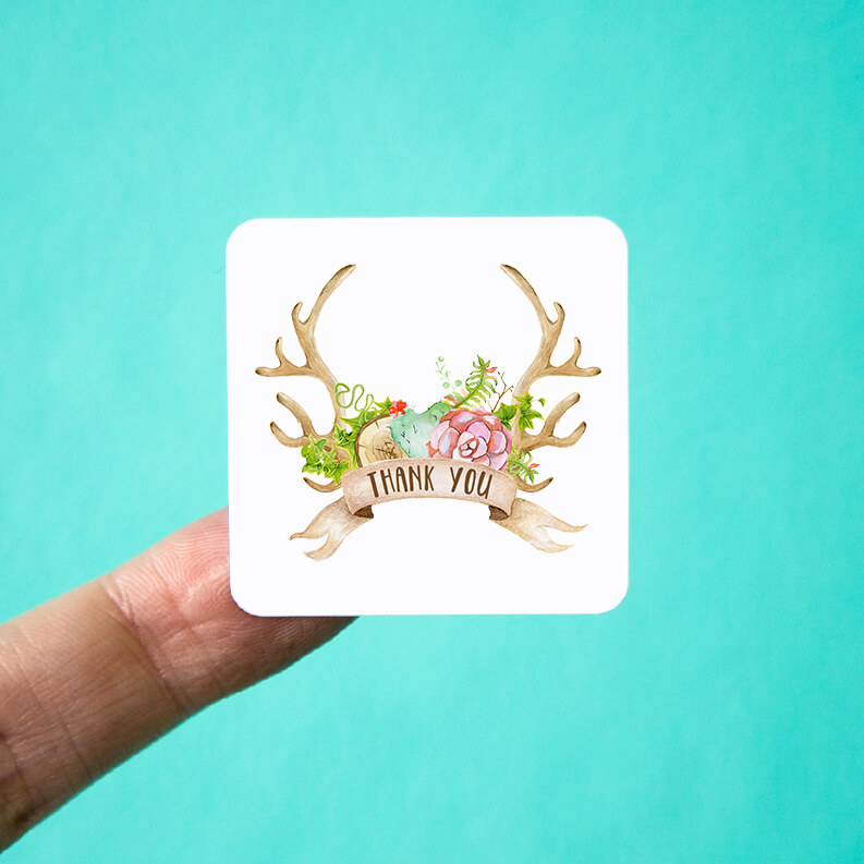 Succulent Antlers Thank You Stickers