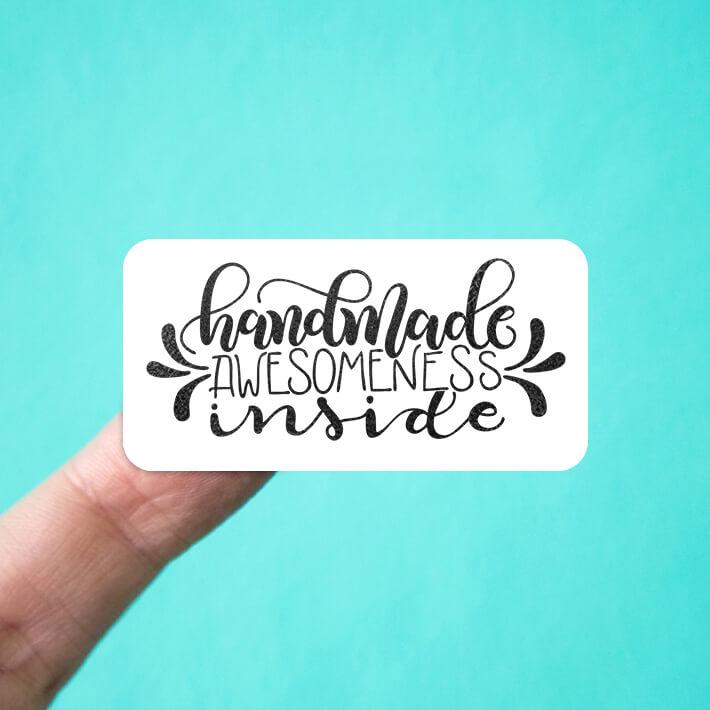 Handmade Awesomeness Inside Stickers