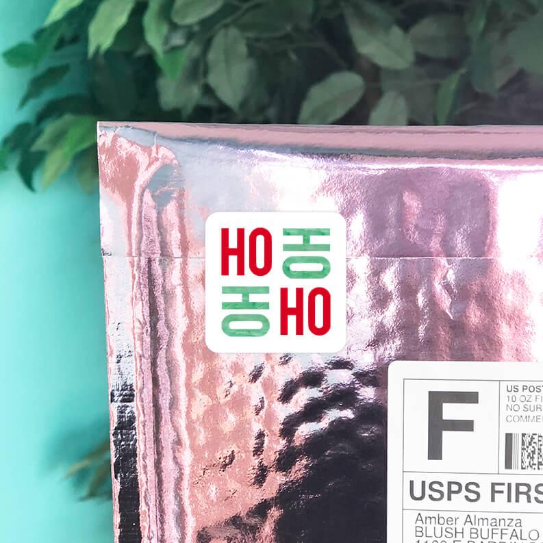Ho Ho Ho Ho Christmas Square Stickers