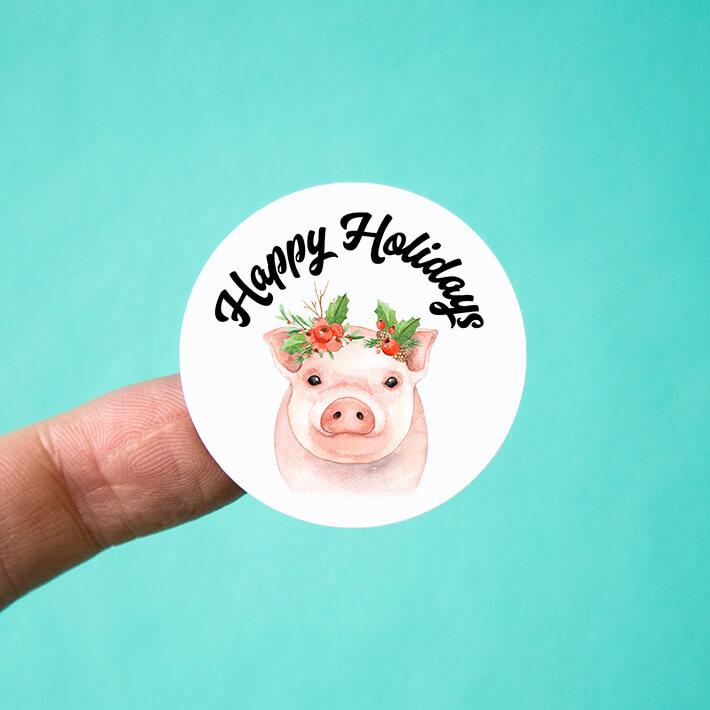 Happy Holidays Piglet Stickers