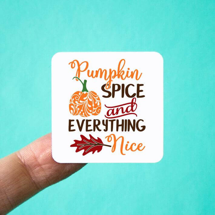 Pumpkin Spice and Everything Nice Square Stickers