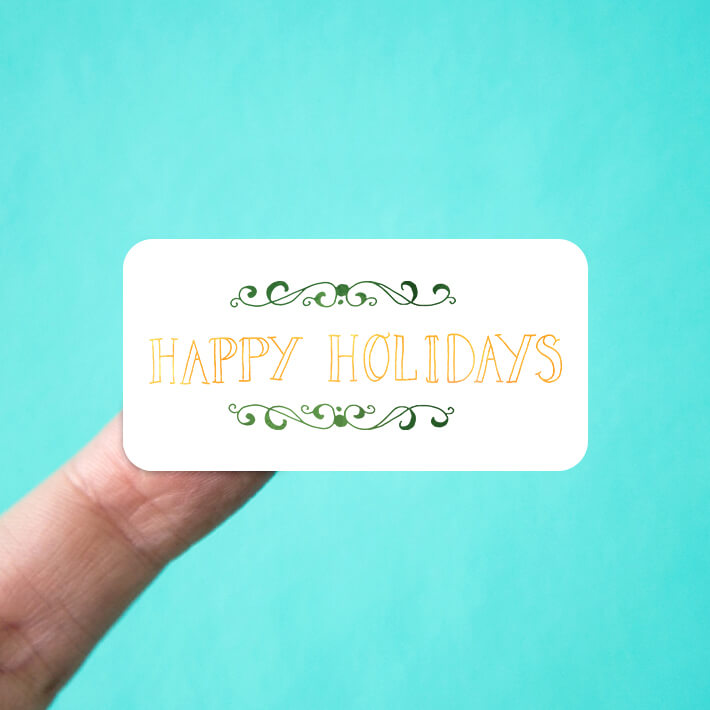 Happy Holidays Gold & Green Stickers