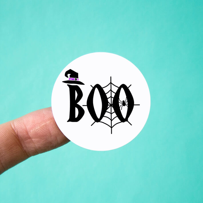 Boo with Spider Web and Witch Hat Stickers