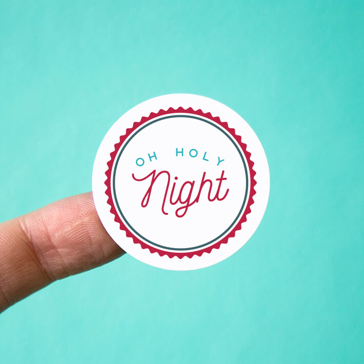 Oh Holy Night Badge Stickers
