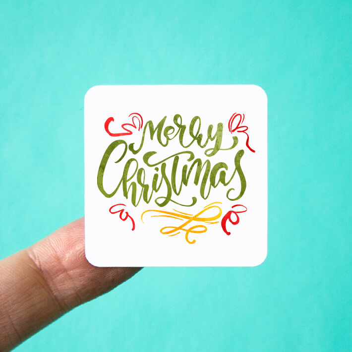 Merry Christmas Square Stickers