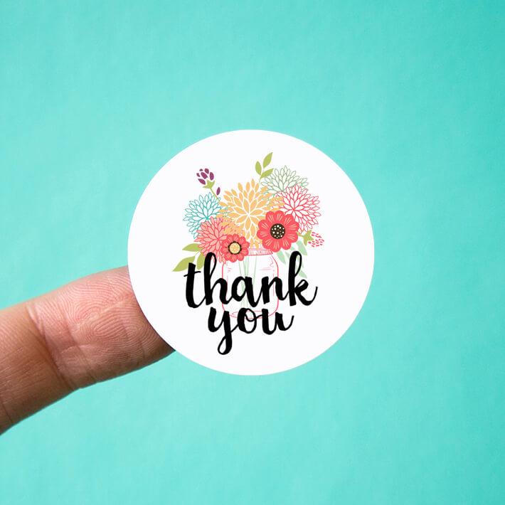 Mason Jar Bouquet Thank You Stickers