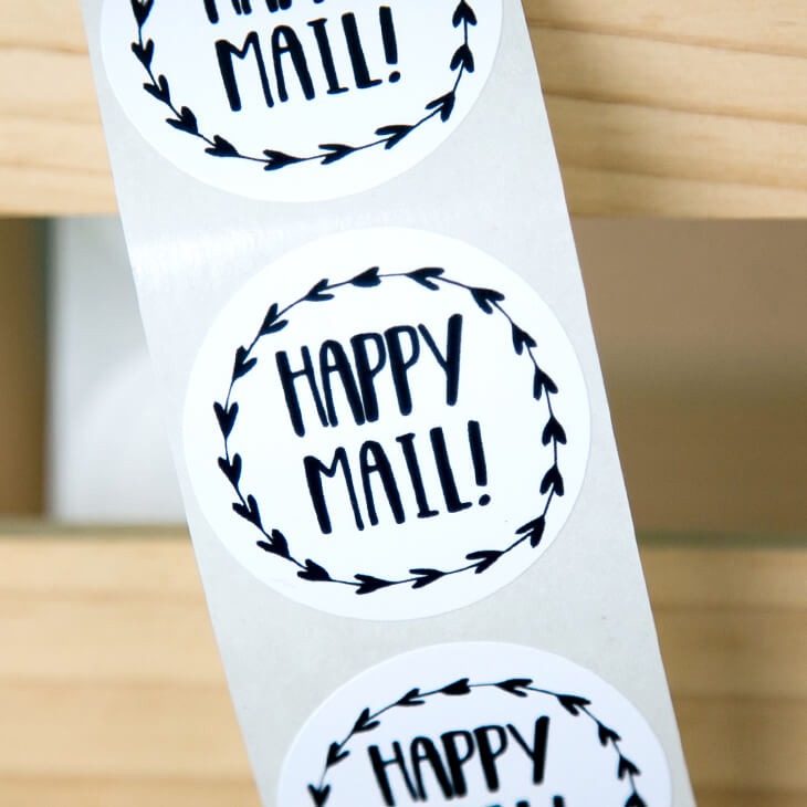 Happy Mail Heart Wreath Stickers