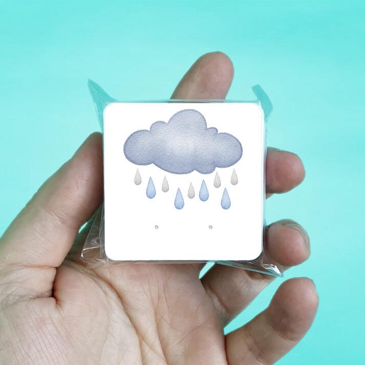 Rain Clouds Stud Earring Cards