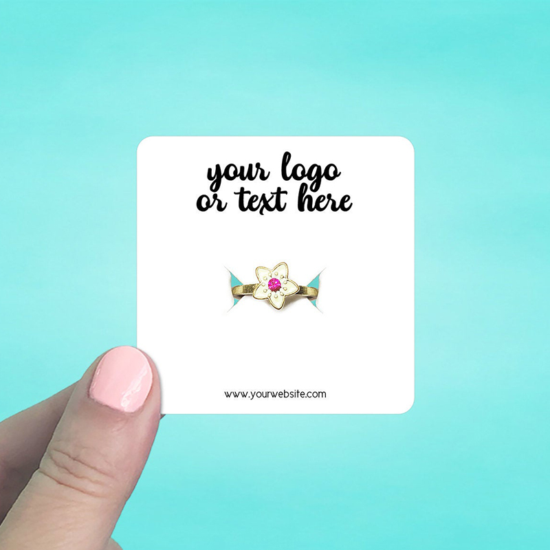 """Set of 70 2.5 x 2.5"""" Rounded Square Ring Display Cards"""