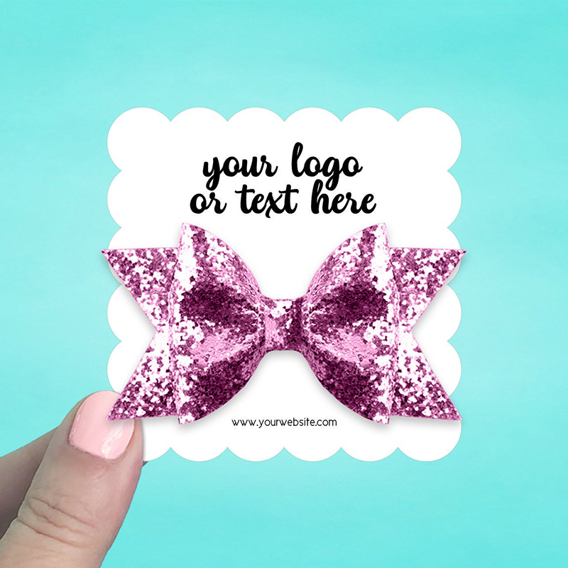 """Set of 42 3 x 3"""" Scallop Square Hair Bow Display Cards"""
