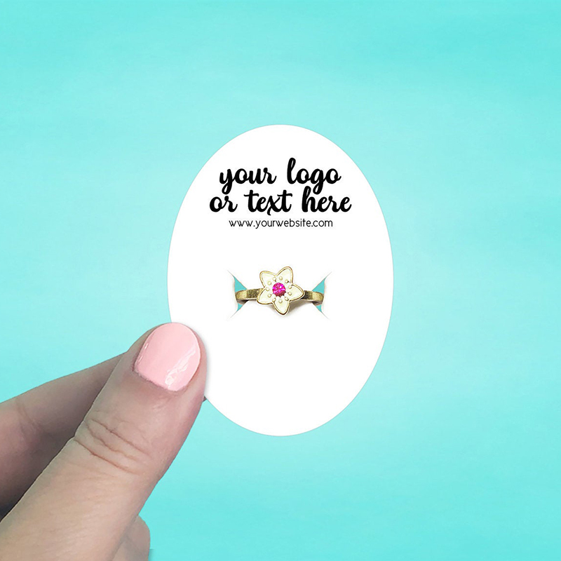"""Set of 72 2 x 2.75"""" Oval Ring Display Cards"""