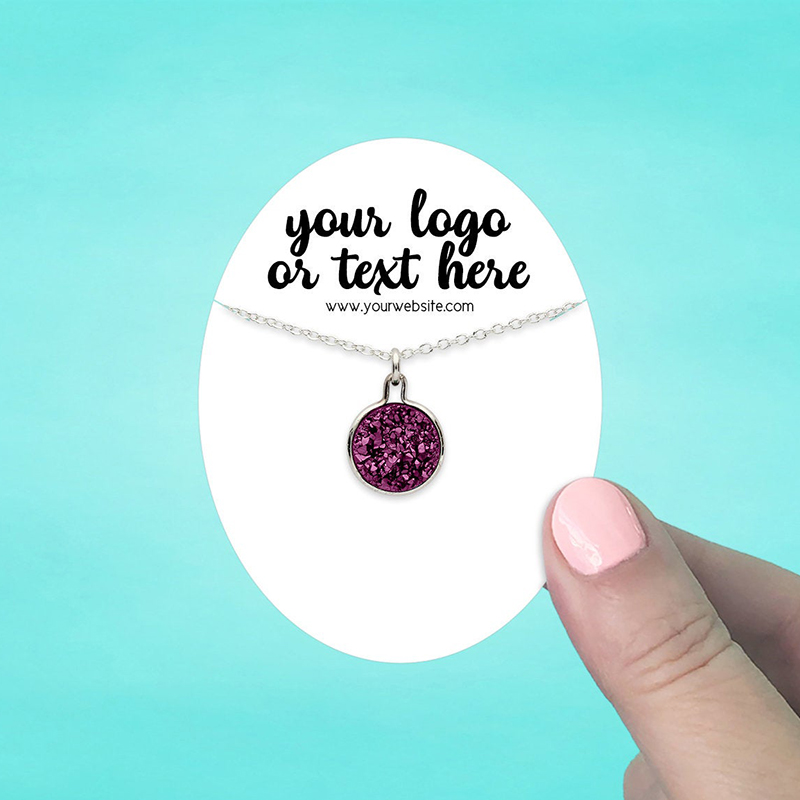 """Set of 58 2.5 x 3.25"""" Oval Necklace Display Cards"""